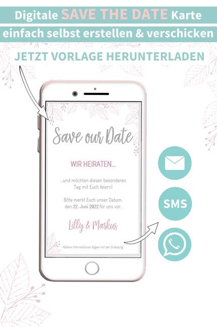 modern, minimalistisch, Blätter, Save the date, digitale, Handy, selber machen, Vorlage, Whatsapp, elektronische, Hochzeit ankündigen, Hochzeitskarte, Druckvorlage, basteln