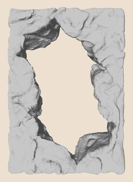 "Crack #4, dimensions variable, exhibited version at the show ""Line and Surface"": 100 × 70 cm, digital print on Hahnemühle paper"