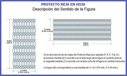 PROTECTO REJA DE ACERO EN HOJA (PROTECTO-REJA o PROTECTOREJA DECO REJA o REJACERO) SENTIDO DE LA HOJA