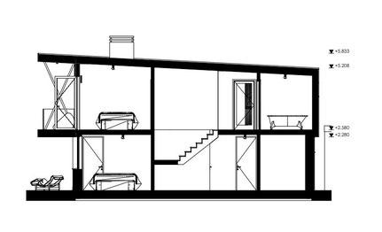 Bouwkundige doorsnede woonhuis