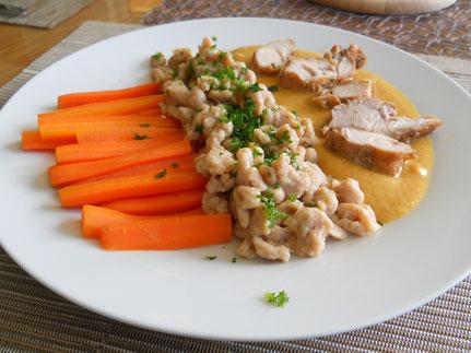 Mostkaninchen mit Vollkornspätzle und Karottenstiften