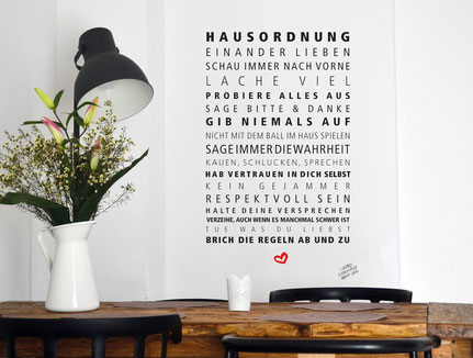 Wandtattoo Hausordnung - Formart Zeit für Schönes!