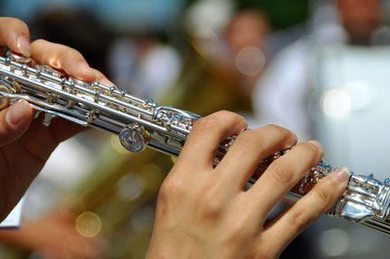 Spiele Querflöte im Musikzug / Orchester