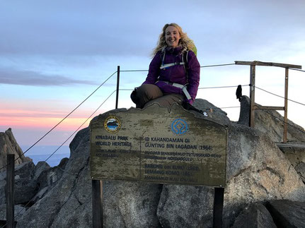 Sarah at the summit of Mount Kinabalu
