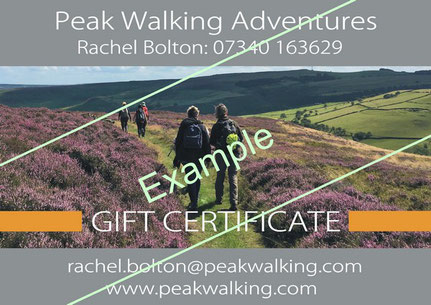 Example gift voucher for guided walks Peak District - Front