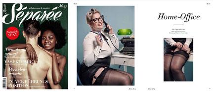 Homeoffice. Pin-Up Fotos mit Alexandra Linnemann im Séparée Magazin von Yvonne Thöne