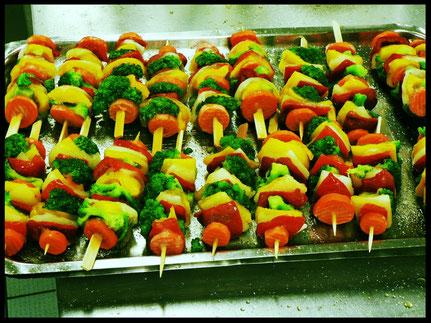Gemüsespieße statt Fleischspieße