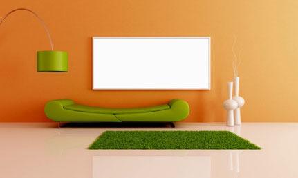weiße Infrarotheizplatte im Wohnzimmer