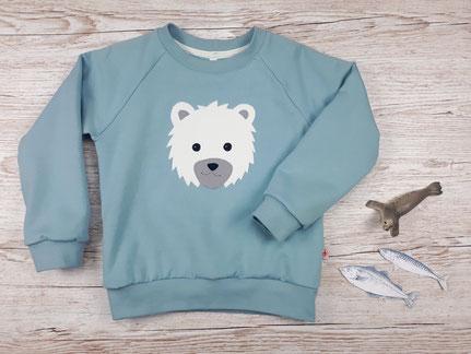 Kinderpullover mit Eisbär Applikation aus GOTS Baumwolle