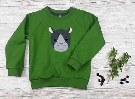 Kinderpullover mit Nashorn Applikation aus GOTS Baumwolle