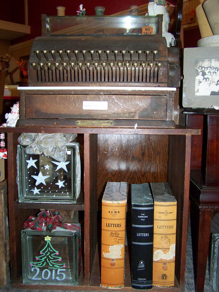 Antique Cash Register, Glass Blocks, Files