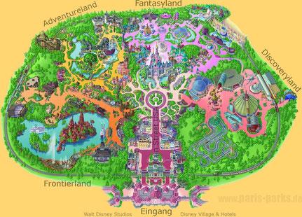 Karte Disneyland Paris Attraktionen.Disneyland Paris Freizeitpark Testers Webseite