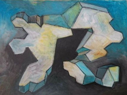 "Silvia Asshoff-Graeter, ""Fragment 3"" 2019, 60 x 80 cm, Acryl auf Leinwand,"