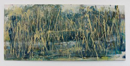Cornelia Weihe, Am Fluss, Öl auf Leinwand, 96 x 180 cm