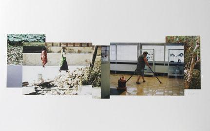 Jutta Hieret, Träumen bei der schweren Arbeit, 2003, Fotocollage, Alurahmen 54 x 80 cm