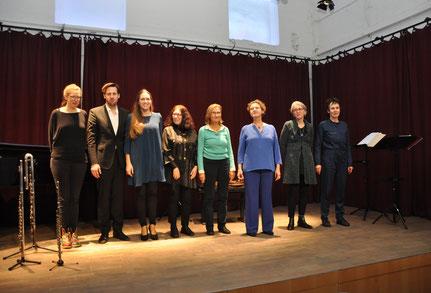 Klima-Musiken, Komponistinnen und MusikerInnen auf der Bühne des Musentempels Karlsruhe, Foto: AML