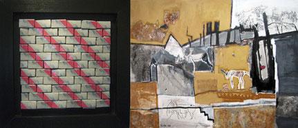 Schnittstellen: Silvia Mielke - Magenta III, 2007 | Silvia Kiefer - Wehmut, Gouache a. Leinwand, 2008