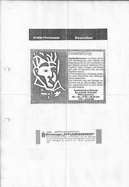 Ausstellungsankündigung mit Linolschnitt von Elwood