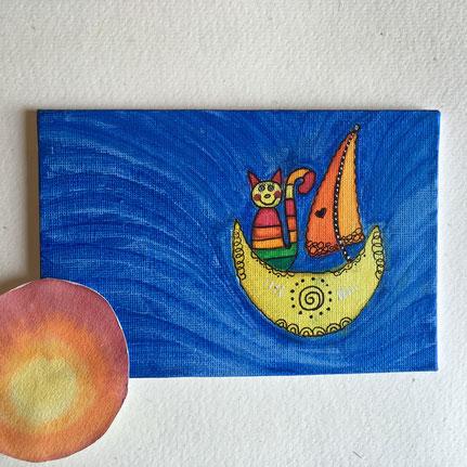 Zauberkatze im Halbmondschiff - gemalte Postkarte