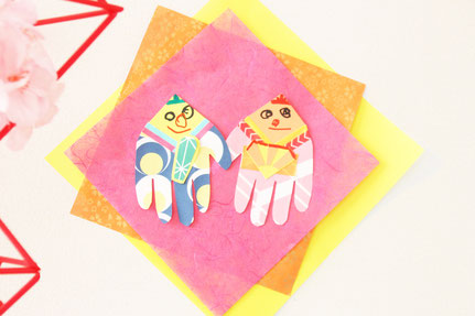 和紙を重ね壁などに飾ってできあがり