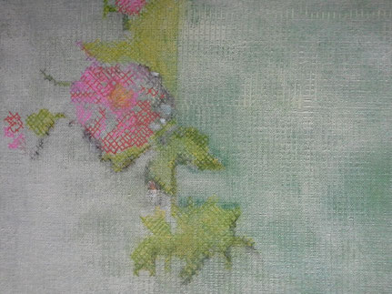 Embroidery : acrylverf, acrylstiften-ca.  20 bij 30  cm.