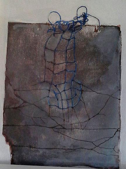 Behind threads,  acryl,  medium en acrylstiften-ca. 30 bij 20 cm.