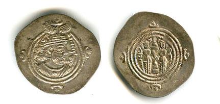 Silberdrachme aus der Zeit Khosrow II
