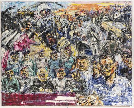 """""""Handwerk des Krieges"""" Öl auf Baumwolle, 160 x 200 cm; Serie Fluchtkorridor 1 2017 (Foto: TT)"""