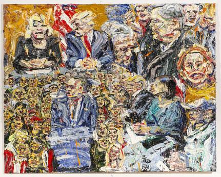 """""""Im Reich des Gelben - Donald Trump, Steve Bannon, Kommunikationsdirektorin Hope Hicks"""", Öl auf Baumwolle, 160 x 200 cm; Serie Fluchtkorridor 2 2017 (Foto: TT)"""