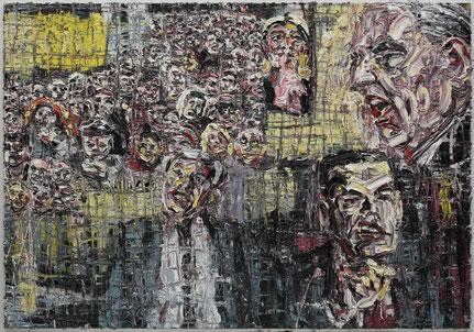 """""""Montagsdemonstrationen Demagogen: Jürgen Elsässer / Andreas Popp / Ken Jebsen"""", Öl auf Baumwolle, 140 x 200 cm; Serie Globale Zuspitzungen I 2014 (Foto: AM)"""