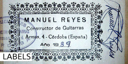 Manuel Reyes - Guitars - Gitarren - Labels - Etiketten