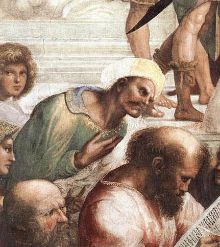 """Particolare della """"Scuola di Atene"""" di Raffaello: Averroè"""