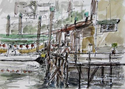 東京都・北品川橋界隈の運河と建物
