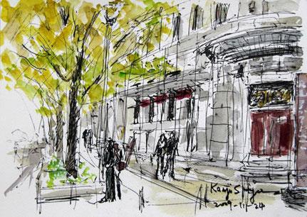 横浜市・日本大通りのイチョウ並木