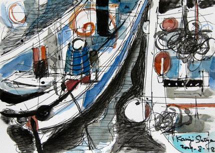 神奈川県・真鶴漁港の二隻の漁船