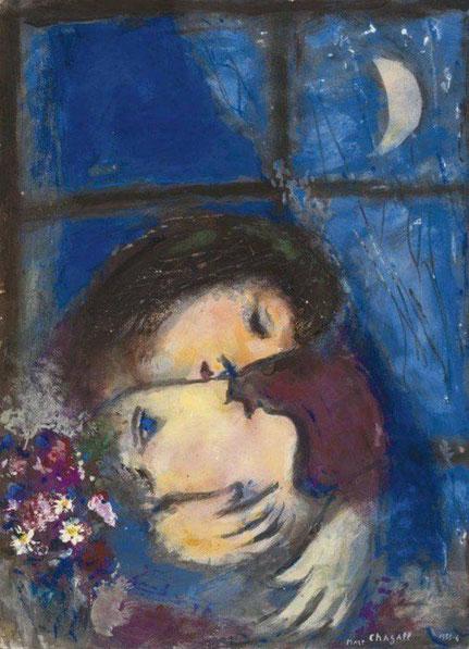 """Marc Chagall, """"Due teste alla fienstra"""" (1955-56)"""