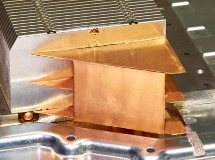 Kupferplatten am Kühlkörper