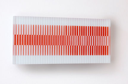 Ostinato III. | printed, hand polished, glued glass | 20 x 40 cm | 2012 | ●