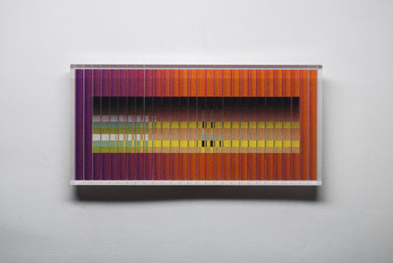 Led XII. | cut, ground, printed, glued, hand polished glass | 21 x 42 cm | 2016 | ●