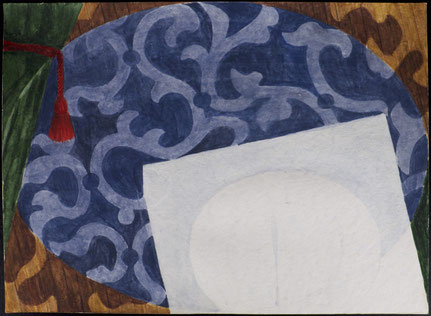 francois beaudry gouache et aquarelle peinture nature morte série table bleue étude 2