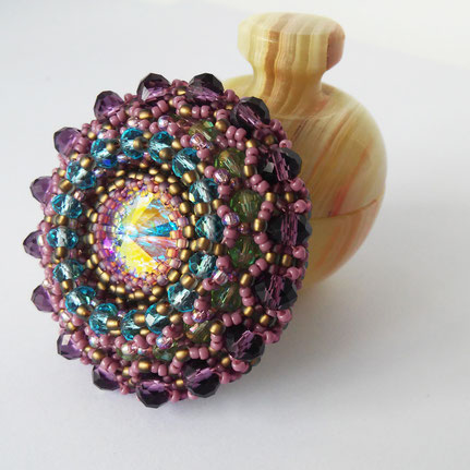 Women Swarovski beadwork sparkling brooch, Gift for woman, Round Purple Vintage brooch for bags or coat, Wedding Jewelry