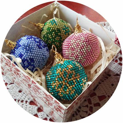 Christmas tree decorations, Set 4 pieces Christmas tree balls, Beautiful Snowflakes decorations balls, New Year decorations, Christmas gifts