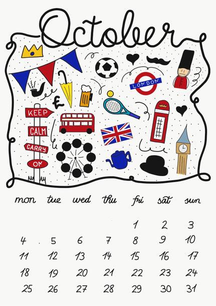 Kostenloser London Wandkalender zum ausdrucken