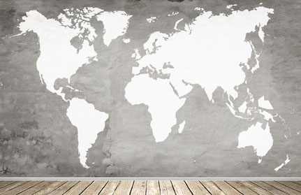 Wandtattoo als Weltkarte