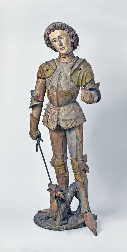 Saint Georges terrassant le dragon Sculpture de bois, traces de peinture Allemagne du sud ou Tyrol Fin du XVe siècle Musée Boucher de Perthes, legs Vayson