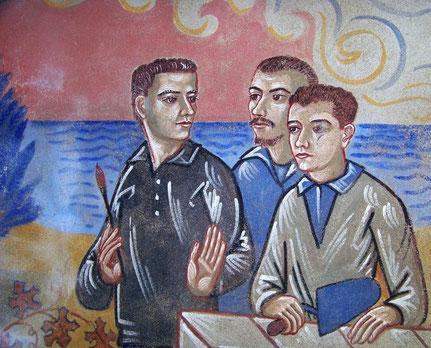 Autoportrait de Nicolaï Greschny (en noir)