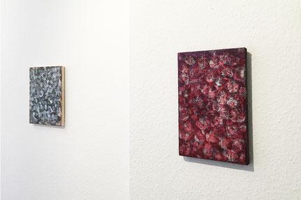 rechts: 16.2.30 2016, Pigment, Acryl, Nessel, 30 x 25 cm