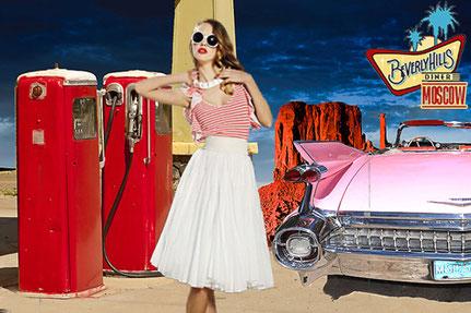 Фотозона Америка 50-х фотосессия розовый кадилак