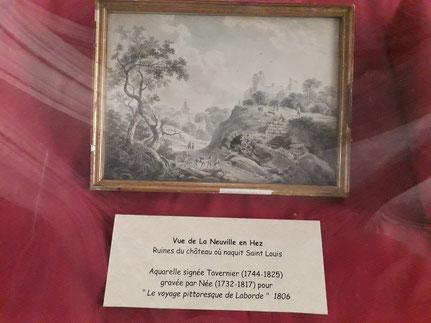 Aquarelle du 18ème siècle évoquant le château de La Neuville en Hez
