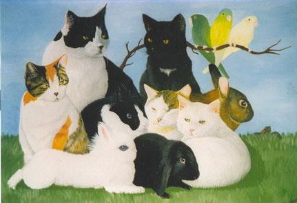 Acrylique sur toile-Chats, lapins et perruches.